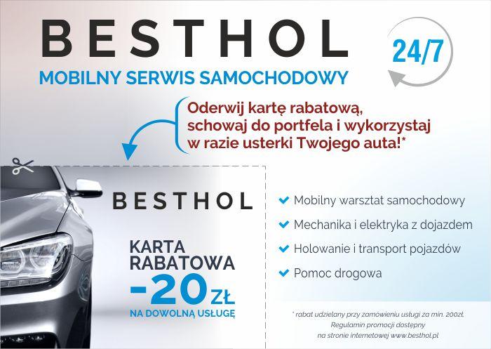 BESTHOL akcja rabatowa -20 zł na mechanike elektryke i pomoc drogowa