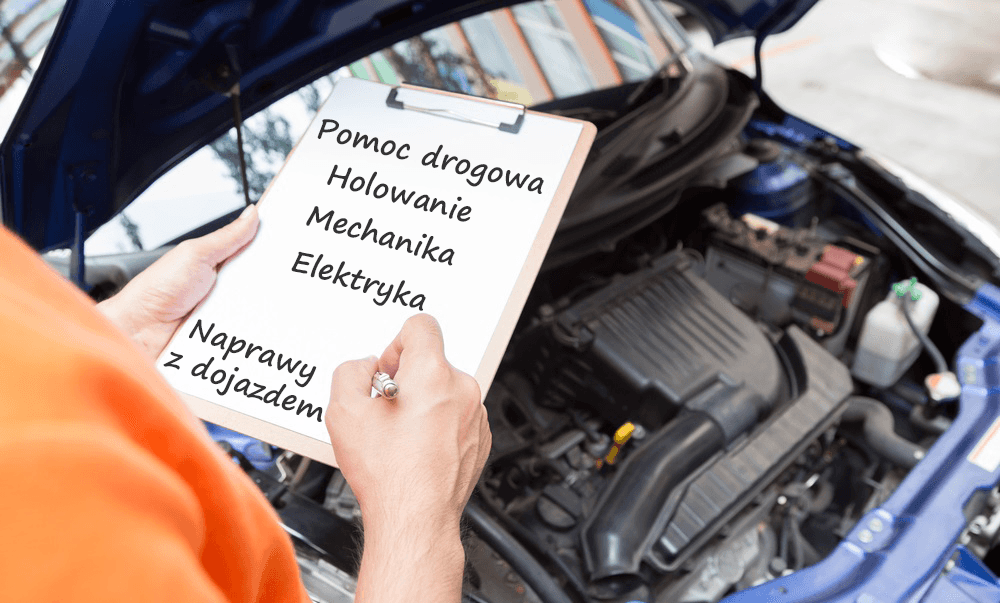 baner z informacją o świadczonych usługach pomocy drogowej, holowania, napraw z dojazdem, mechanice i elektryce