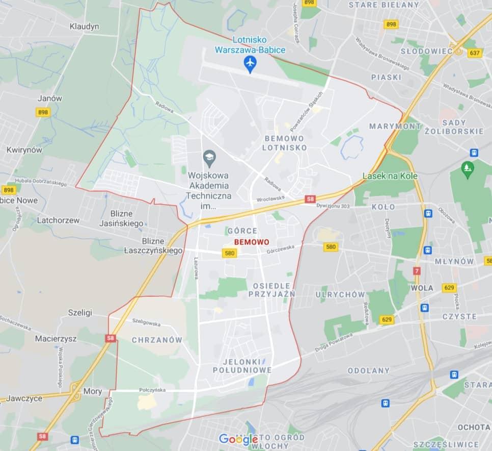 mapa pomocy drogowej na Bemowie w Warszawie