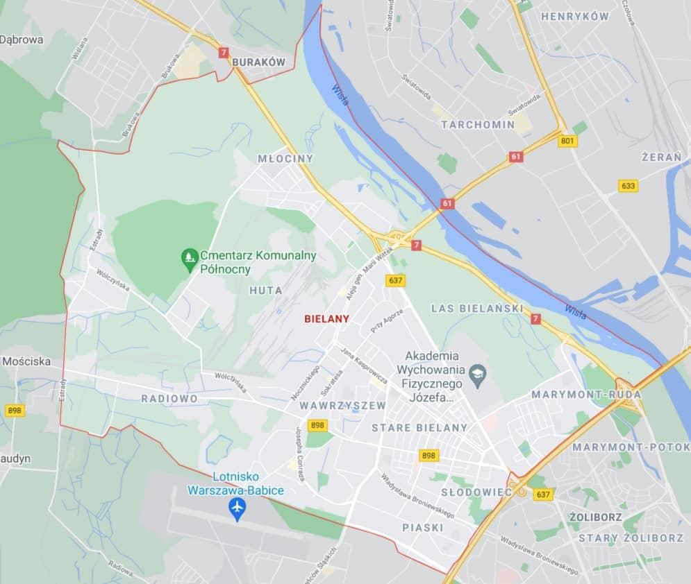 mapa pomocy drogowej na Bielanach w Warszawie