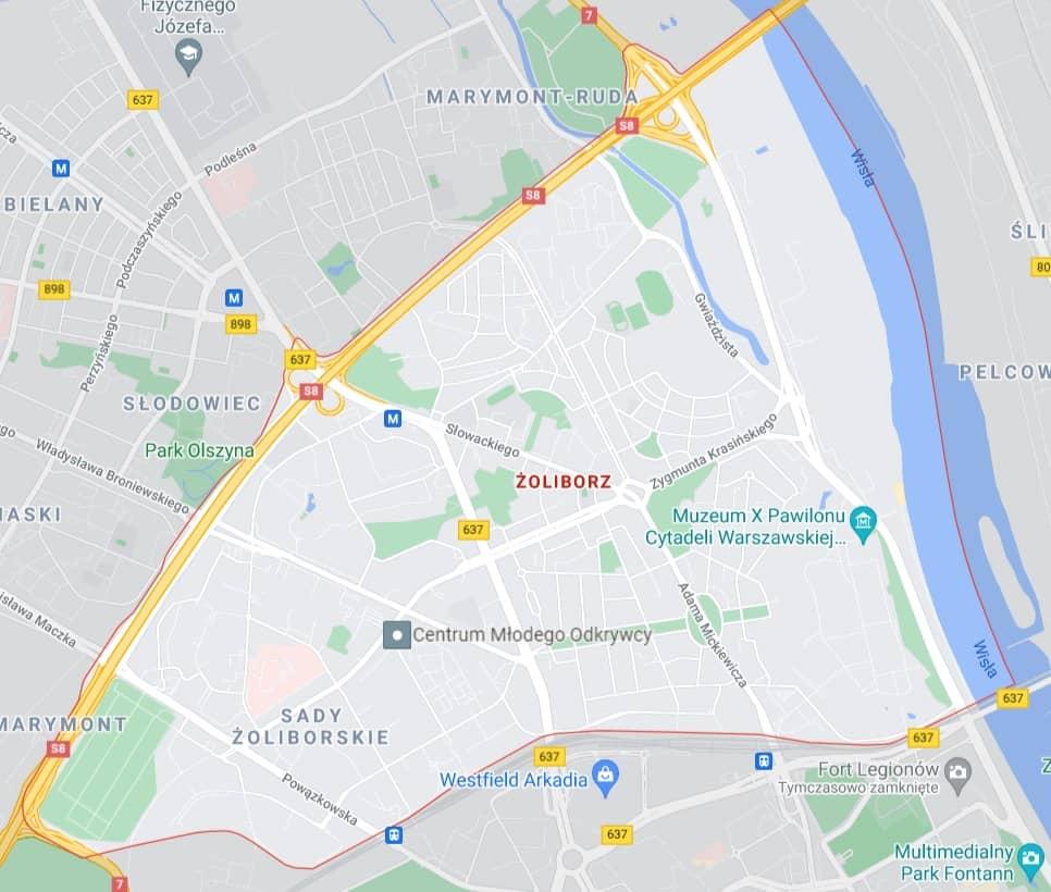 mapa pomocy drogowej na Żoliborzu w Warszawie