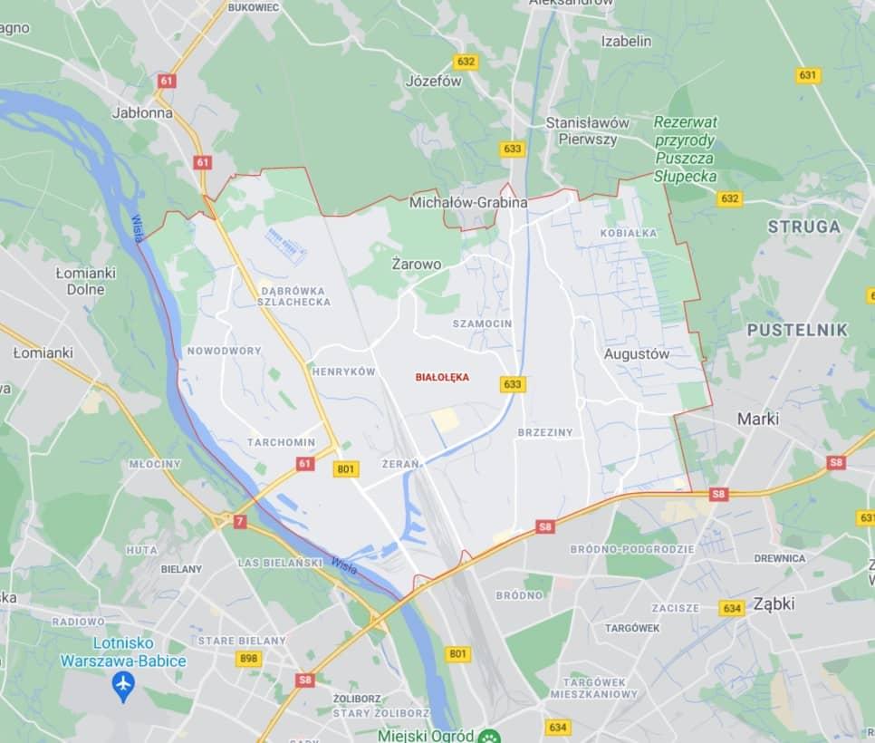 mapa pomocy drogowej na Białołęce w Warszawie