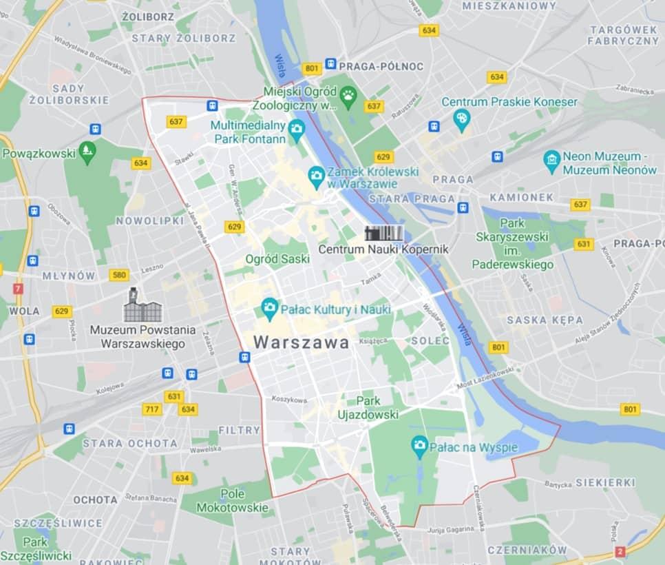 mapa pomocy drogowej na Śródmieściu w Warszawie
