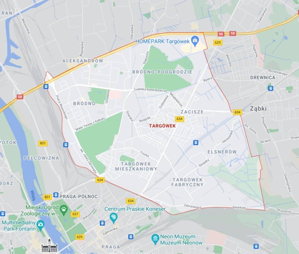 mapa pomocy drogowej na Targówku w Warszawie