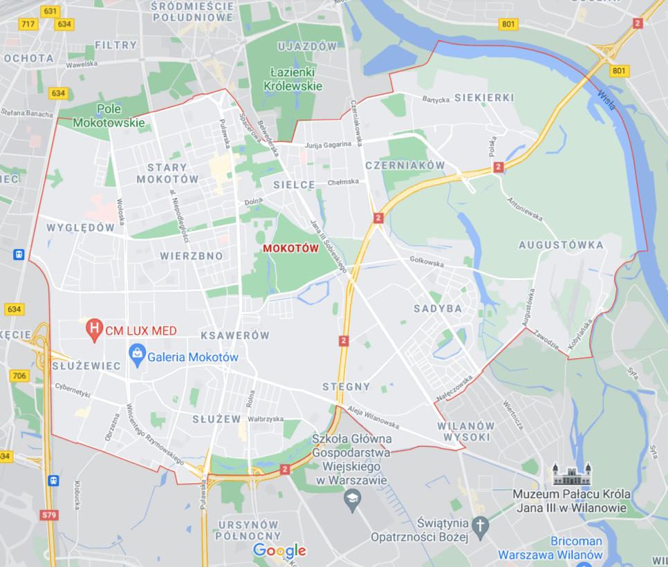 mapa pomocy drogowej na Mokotowie w Warszawie
