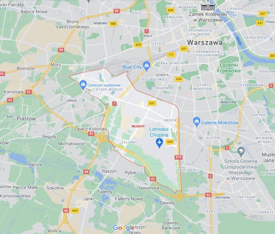 mapa pomocy drogowej na Włochach w Warszawie