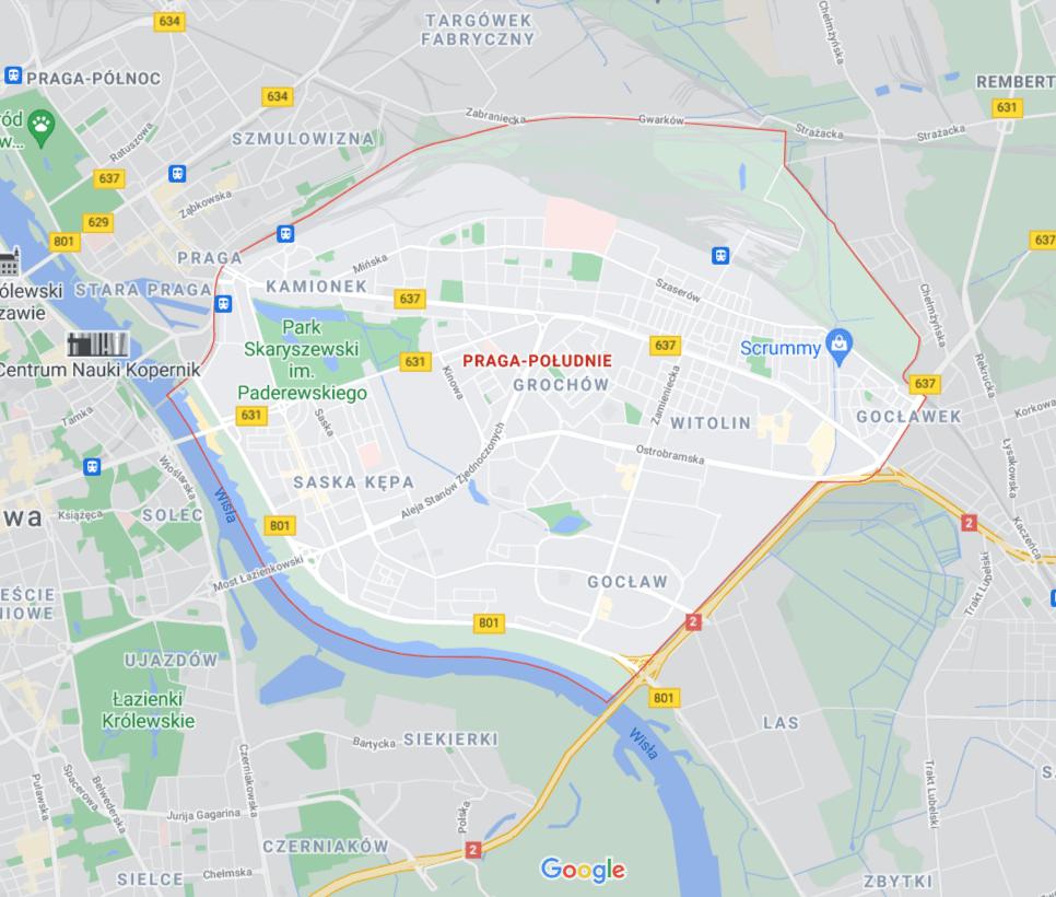 mapa pomocy drogowej na Pradze-Południe w Warszawie