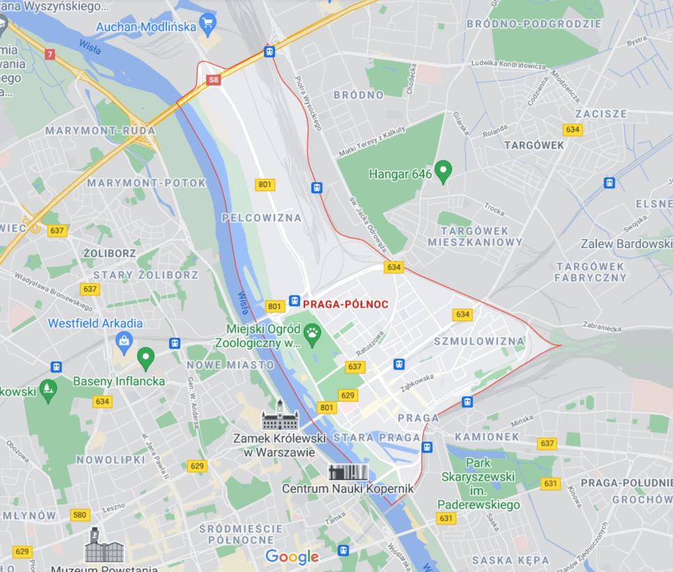 mapa pomocy drogowej na Pradze-Północ w Warszawie