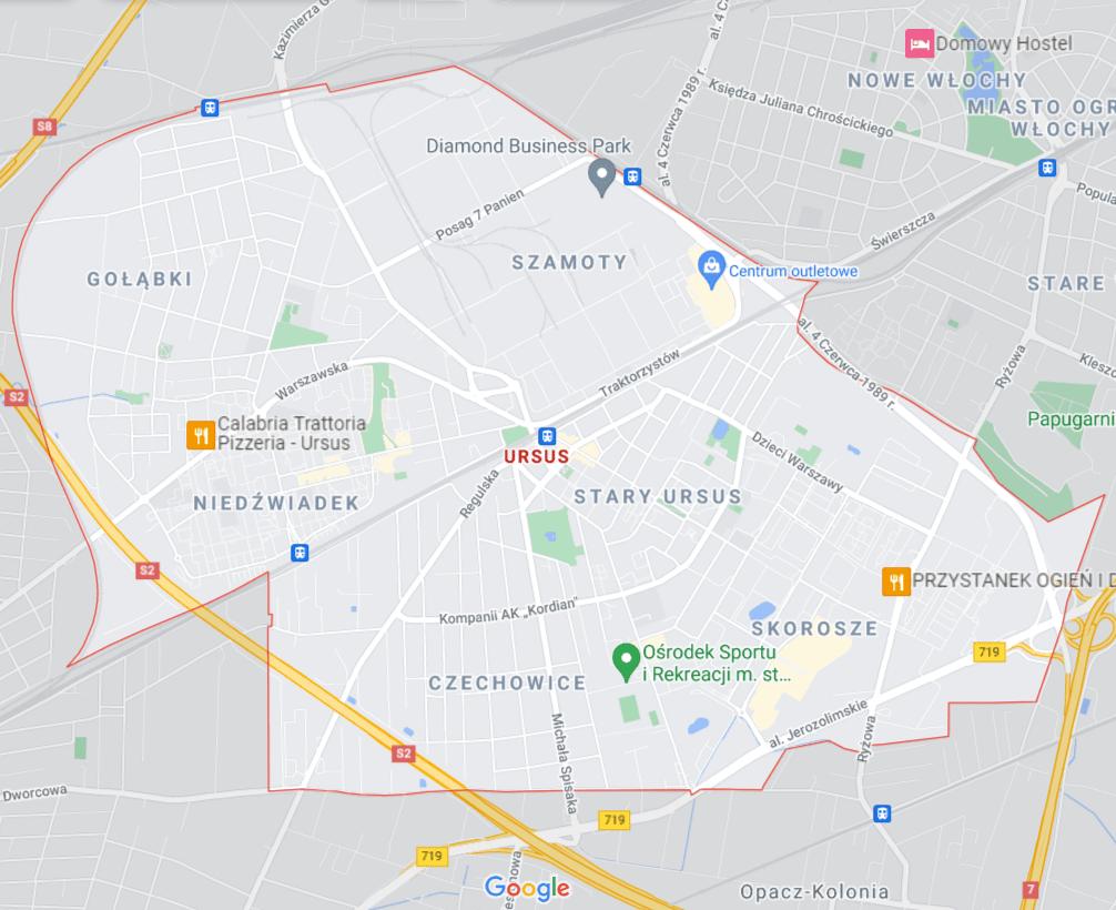 mapa pomocy drogowej na Ursusie w Warszawie