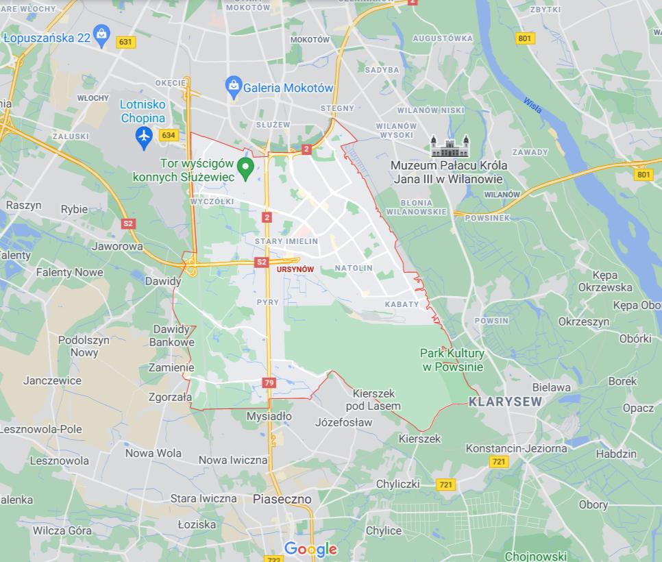 mapa pomocy drogowej na Ursynowie w Warszawie