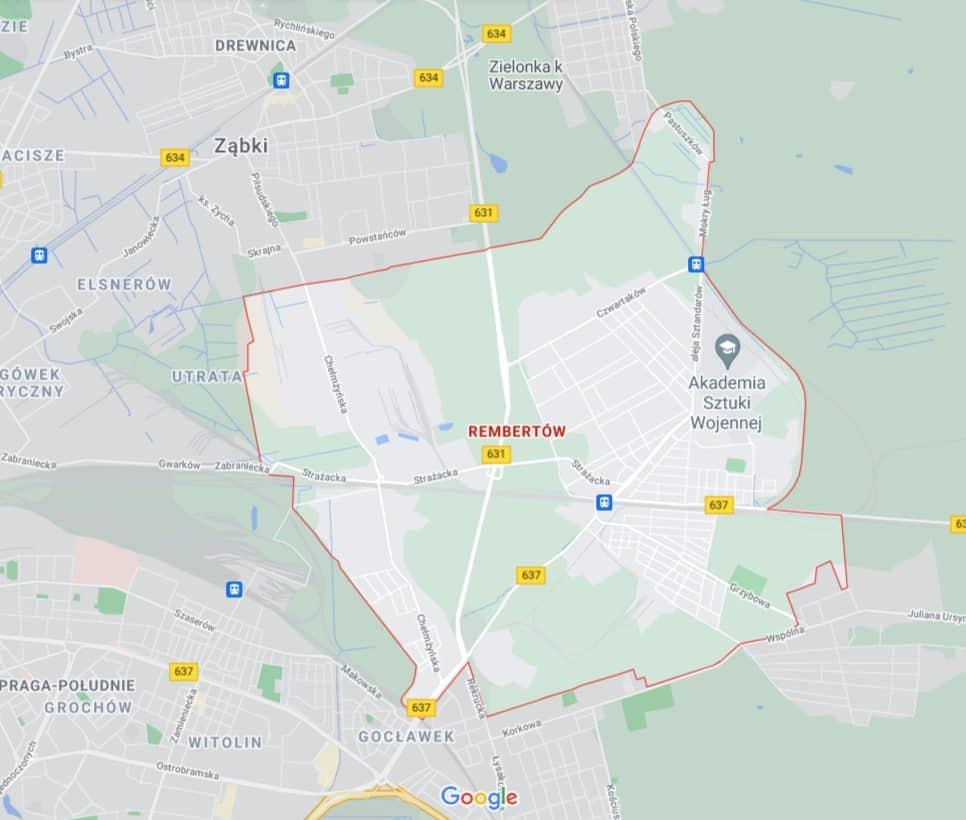 mapa - pomoc drogowa Rembertów Warszawa