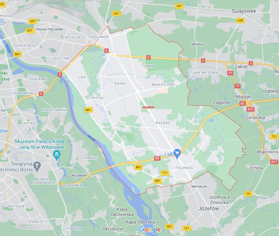 mapa - pomoc drogowa Wawer Warszawa