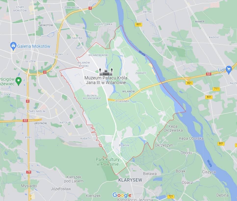 mapa pomocy drogowej na Wilanowie w Warszawie